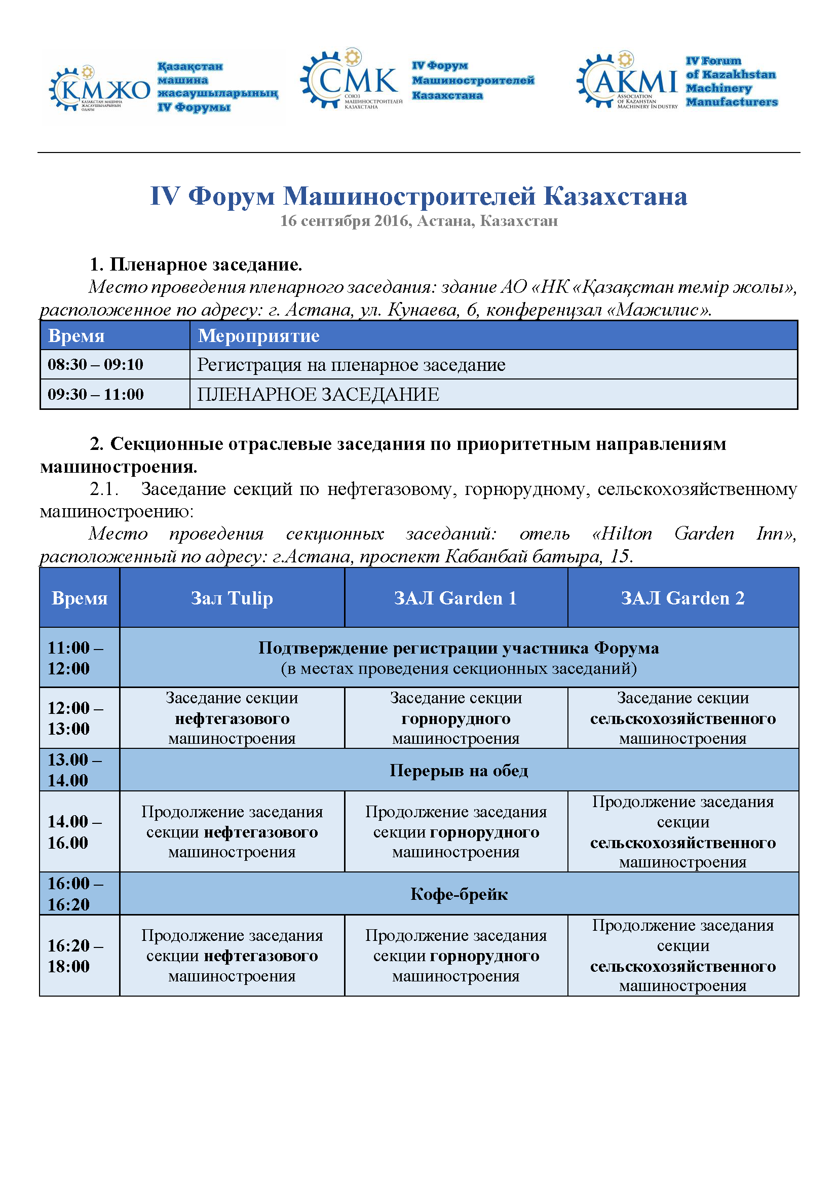 Программа Форума 2016 - рус